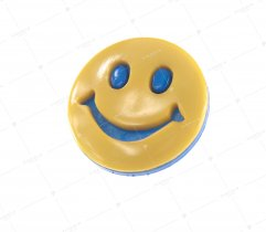 Guzik dziecięcy niebiesko - żółta buzia