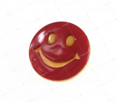Children's button red/yellow smiley face (2863)