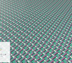 Tkanina poliestrowa - krzyżyki na zielonym