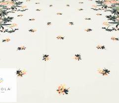 Tkanina poliestrowa - brzoskwiniowe kwiaty na ecru