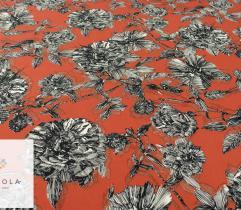 Tkanina poliestrowa - szare kwiaty na rudym