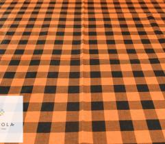Flanela czarno - pomarańczowa krata