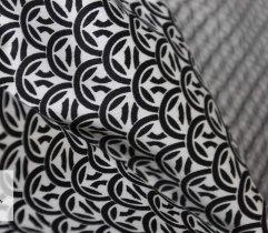 Bawełna satyna drukowane czarne kółka