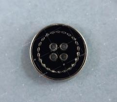Decorative silver-black button 16mm (3364)