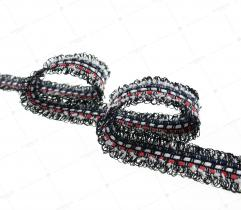 Tape braided 3cm red and navy (3349)