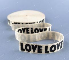 Tape white, gold thread 'LOVE' (3369)