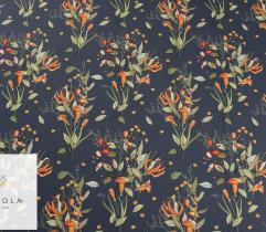 Silki pomarańczowo – zielone kwiaty na granatowym tle