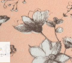 Frotte pętelkowa - białe kwiaty na łososiowym tle