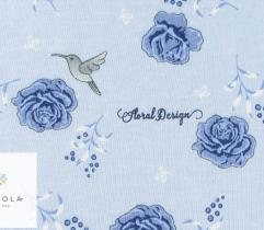 Jersey single - granatowe róże i koliber na błękicie