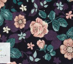 Jersey single - pudrowe róże na czarnym tle