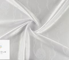 Tkanina obrusowa wodoodporna biała - róże