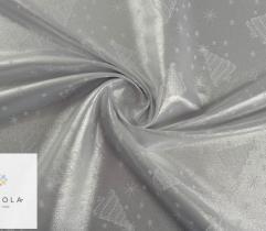 Tkanina obrusowa wodoodporna srebrna - choinki