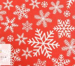 Tkanina bawełniana - płatki śniegu na czerwonym
