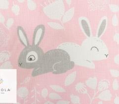 Tkanina pościelowa - króliczki na różowym