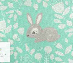 Tkanina pościelowa - króliczki na miętowym