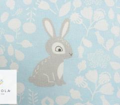 Tkanina pościelowa - króliczki na błękicie