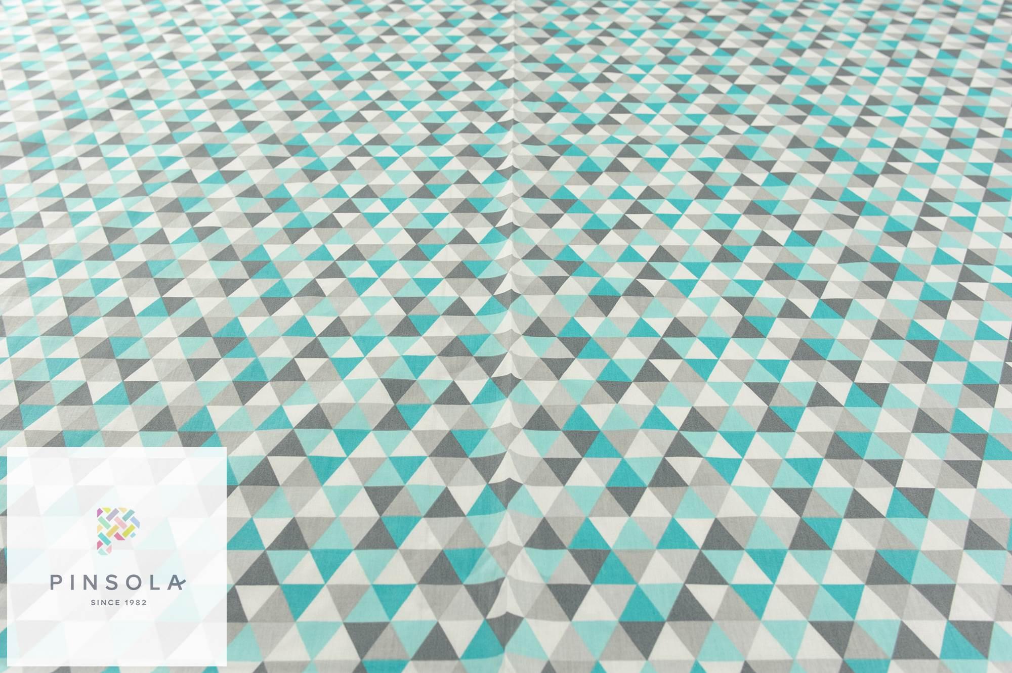 Triangle geometric mint turquise light 100/% cotton fabric width 160cm