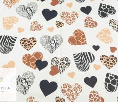 Woven cotton - multicolor hearts