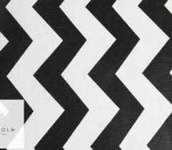 Woven cotton - white-black zigzag