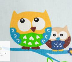 Woven bedding - owls on blue