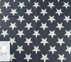 Tkanina bawełniana - białe gwiazdy na graficie