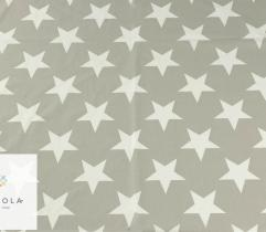 Woven cotton - white stars on grey
