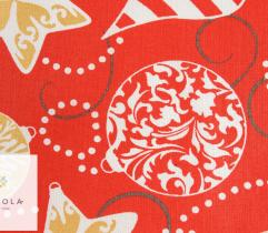 Woven cotton - ornament balls on red