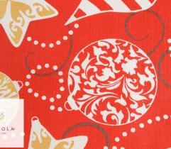 Tkanina bawełniana - bombki na czerwonym