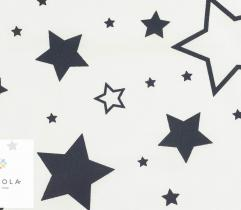 Woven cotton - black big and small stars