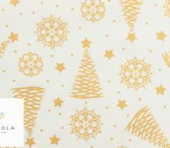 Woven Cotton - golden Christmas trees on white