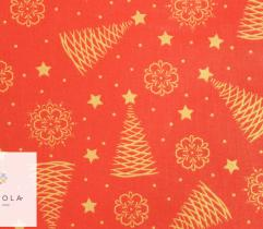 Woven Cotton - golden Christmas trees on red