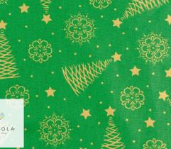 Woven Cotton - golden Christmas trees on green