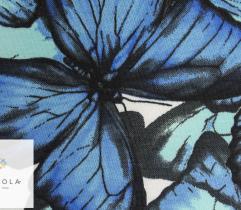 Dzianina bawełna T-shirt motyle niebieskie