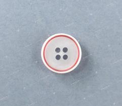 Guzik nr 18a: biało-czerwony 15mm (3514)