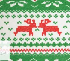 Bawełna T-shirt świąteczne renifery zielony