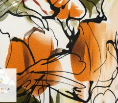 Tkanina bawełna satyna - kwiaty rude