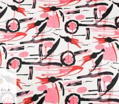 Tkanina bawełna satyna - wzór odcienie różu
