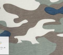Bawełna T-shirt moro niebieski/brąz