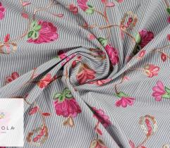 Tkanina haftowana: duże kwiaty - szary
