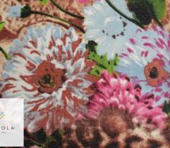 Tkanina szyfon - kwiaty w odcieniach brązu