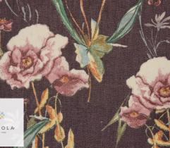 Tkanina szyfon - kwiaty na ciemnym fiolecie