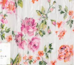 Tkanina plisowana - różowe kwiaty na białym