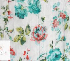 Tkanina plisowana - turkusowe kwiaty na białym