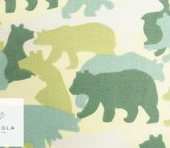 Cotton woven fabric – green bears