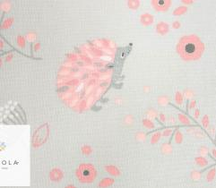 Cotton woven fabric – grey hedgehogs