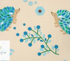 Cotton woven fabric – beige hedgehogs