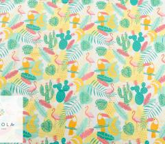 Cotton woven fabric – yellow flamingos