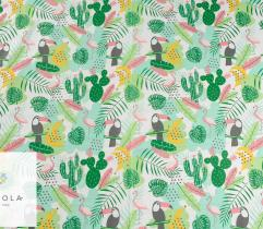 Cotton woven fabric – green flamingos