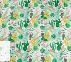 Tkanina bawełniana - flamingi zielone