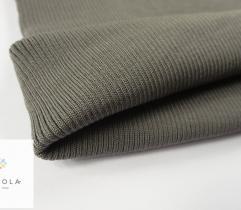 Rib Knit Fabric Viscose Khaki Green Tubular 30cm
